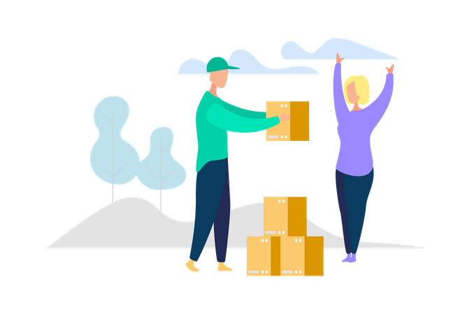 Courier boy Deliver package to client Illustration