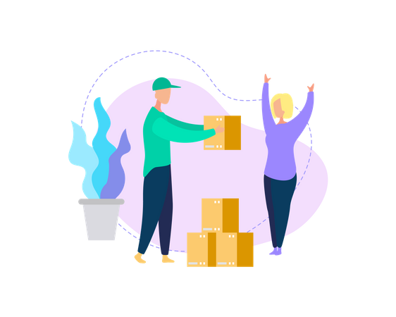 Courier Deliver Box Parcel to Young Woman Consumer Illustration