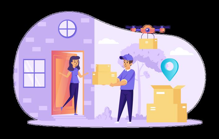 Courier delivering order to home Illustration