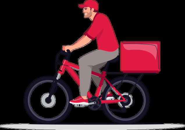 Courier delivery on bike Illustration