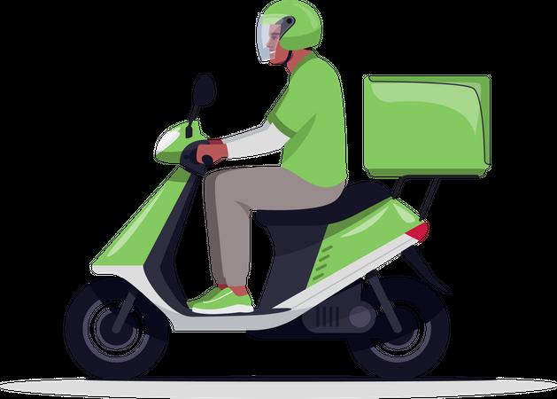 Courier delivery on motorbike Illustration