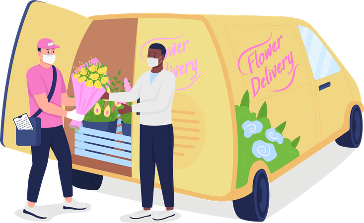 Courier gives customer flowers near delivery truck Illustration