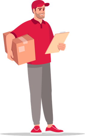 Courier man checking delivery address Illustration