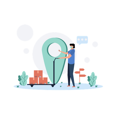 Courier Man Checking Geolocation Illustration