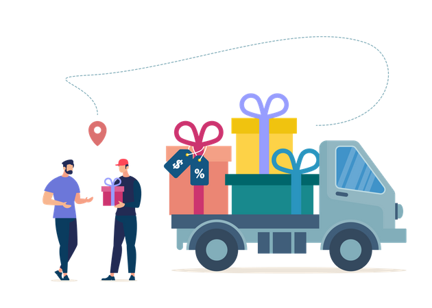 Courier or Deliveryman Arrived on Truck Full of Gifts, Giving Wrapped Box to Store Client Illustration