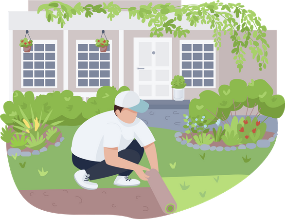 Courtyard greening, lawn care Illustration