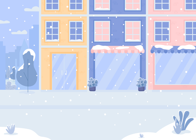 Covered with snow street Illustration