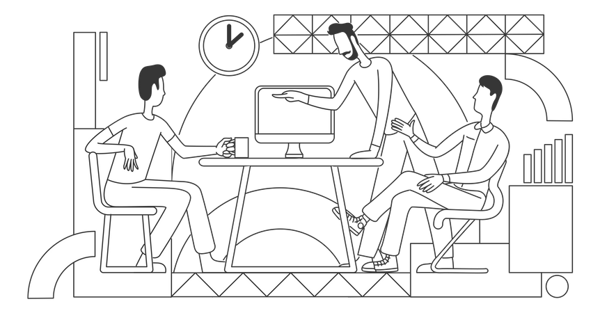 Coworkers discussing business strategy Illustration