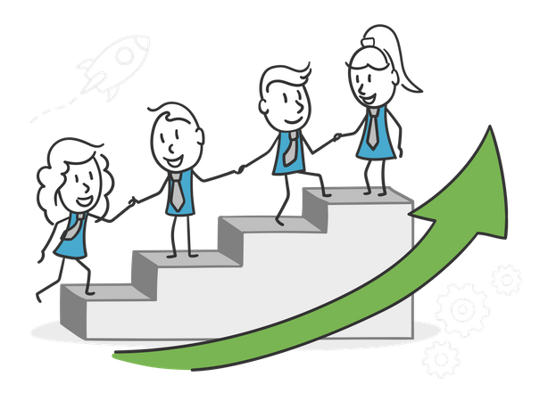 Coworkers grow together and achieve better business performance Illustration