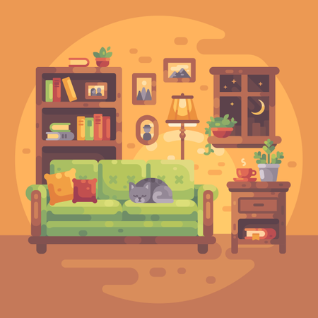 Cozy Evening At Home Illustration