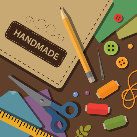 Crafting materials and tools Illustration