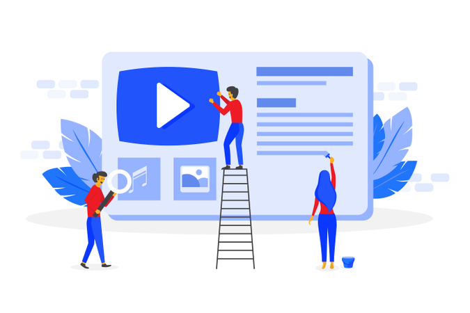 Create online video channel concept Illustration