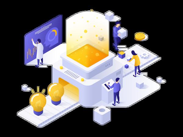 Creation of new ideas, creative thinking process Illustration