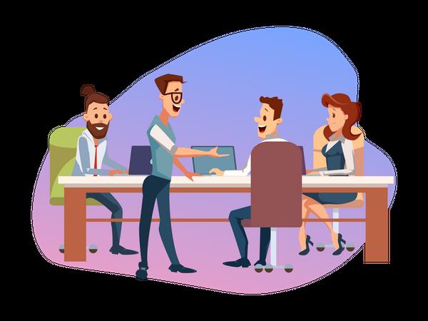 Creative Business Team Meeting ot Office Workplace Illustration