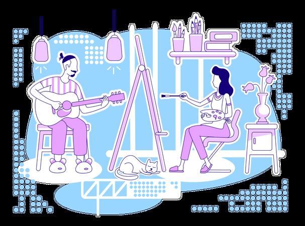 Creative hobbies flat silhouette vector illustration Illustration