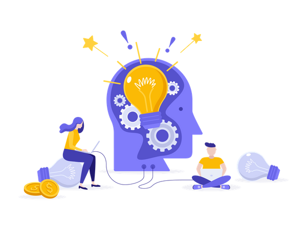 Creative idea generation from brain Illustration