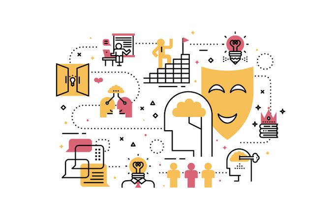 Creative learning line icons illustration Illustration