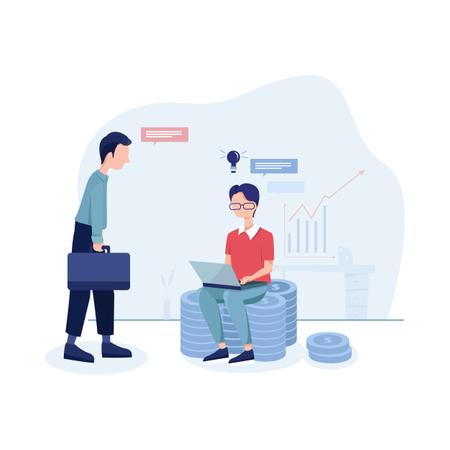 Creative man hiring an employee for making more money Illustration