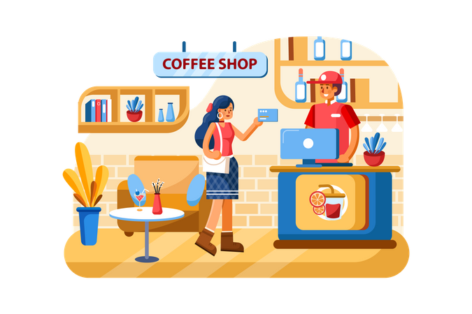 Credit card payment at Coffee shop Illustration