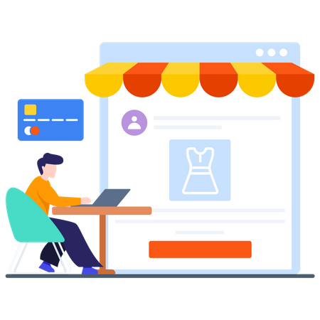 Credit card payment of Online shopping Illustration