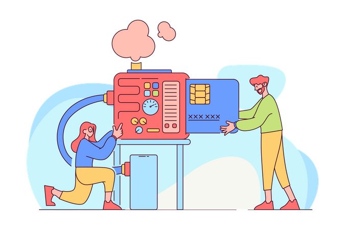 Credit card System Illustration