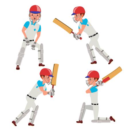 Cricket Player Male Vector. Cricket Team Characters. Flat Cartoon Illustration Illustration