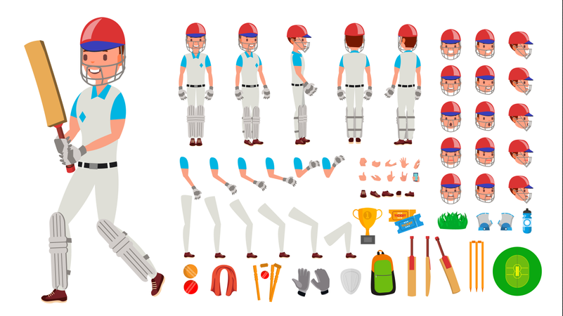 Cricket Player Male Vector. Sport Cricket Player Man. Cricketer Animated Character Creation Set. Full Length, Front, Side, Back View, Accessories, Poses, Emotions, Gestures. Isolated Flat Illustration Illustration