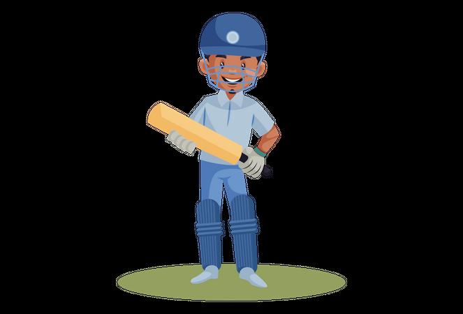 Cricket player smiling Illustration