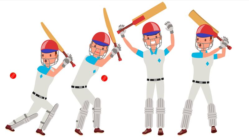 Cricket Player Vector. In Action. Cricket Team Character. Poses. Flat Cartoon Illustration Illustration
