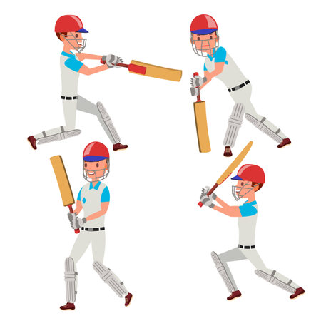 Cricket Player Vector. Wearing Sport Uniform Clothes. Different Poses. Cartoon Character Illustration Illustration