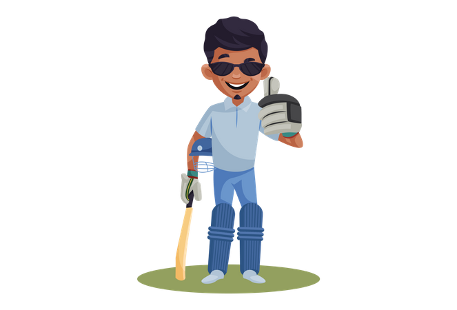 Cricket Player wearing sun glasses ready to play Illustration