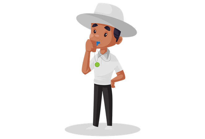 Cricket umpire blowing whistle Illustration
