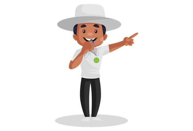 Cricket umpire is whistling and pointing his finger during the match Illustration