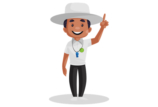 Cricket umpire showing out signal Illustration
