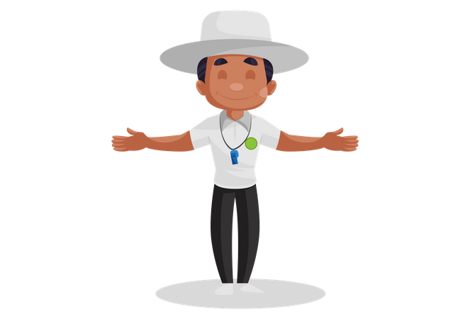 Cricket umpire showing wide ball signal Illustration