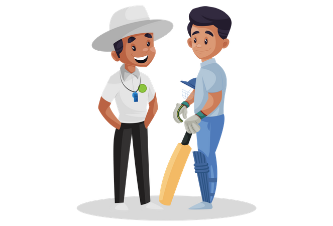 Cricket umpire talking with batsman Illustration