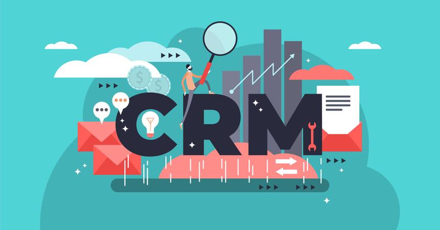 CRM or customer relationship management flat stylized vector illustration Illustration
