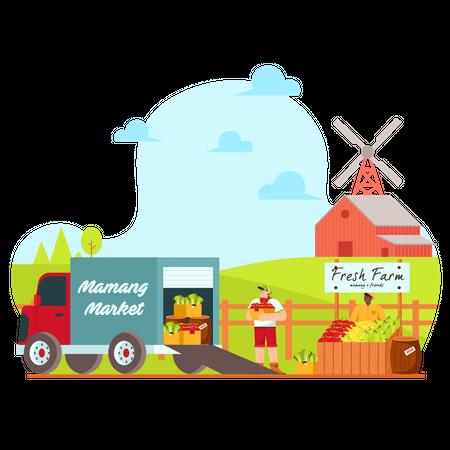 Crop Ready to Transport Illustration