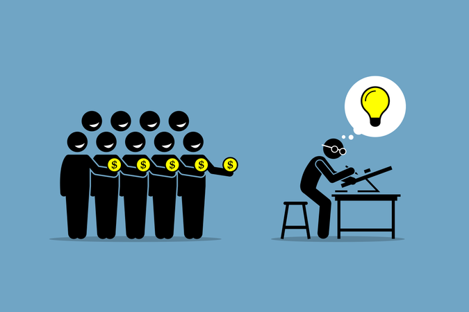 Crowdfunding or crowd funding Illustration