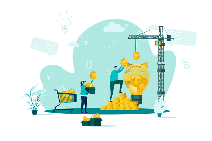 Crowdfunding platform for money donation Illustration