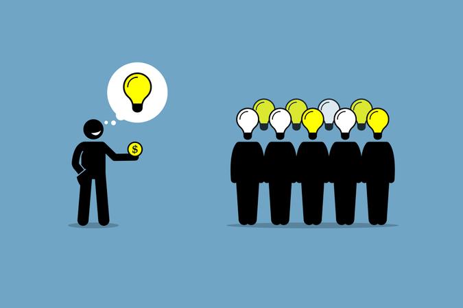 Crowdsourcing or crowd sourcing Illustration