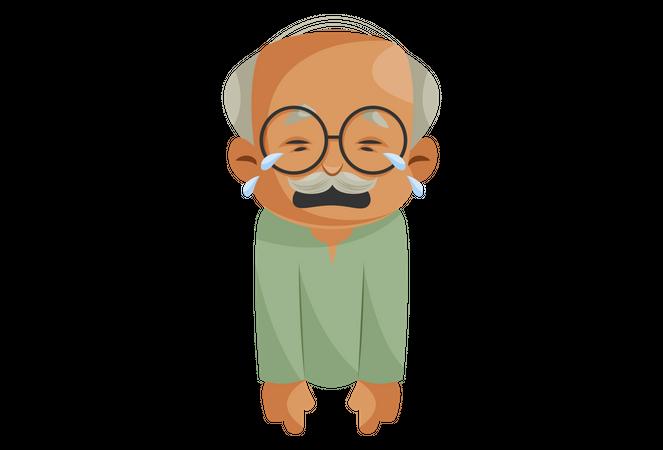 Crying Grandfather Illustration