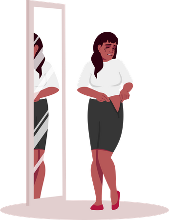 Crying woman trying clothes Illustration