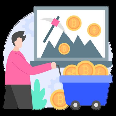 Crypto Coins Mining Illustration