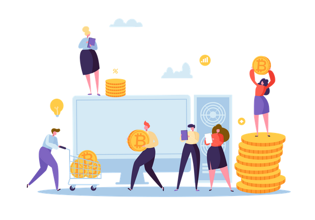 Crypto Currency Mining concept Illustration