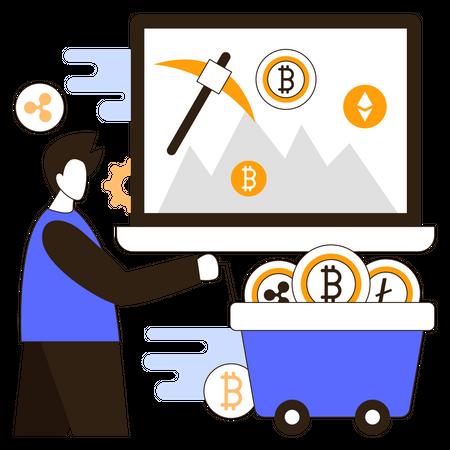 Crypto mining Illustration