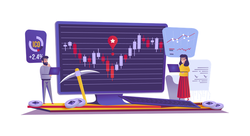Cryptocurrency and finance Illustration