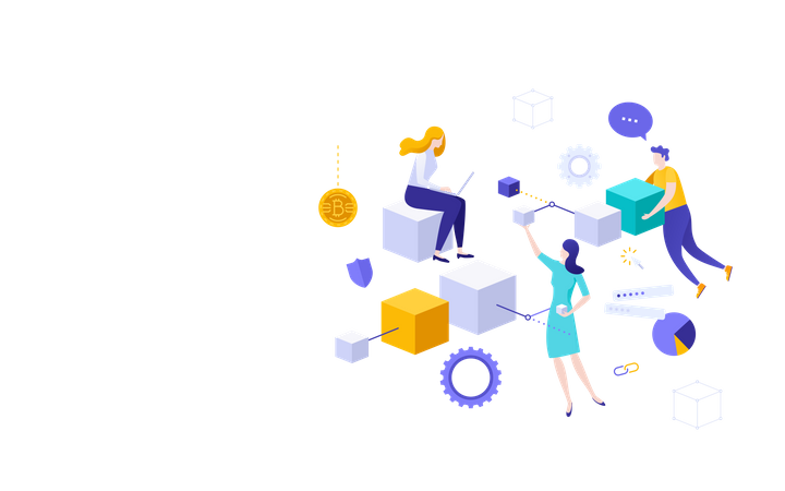 Cryptocurrency Blockchain technology Illustration