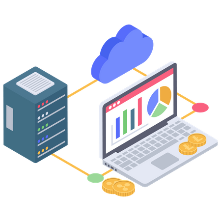 Cryptocurrency Cloud connection Illustration