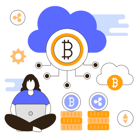 Cryptocurrency Cloud Mining Illustration